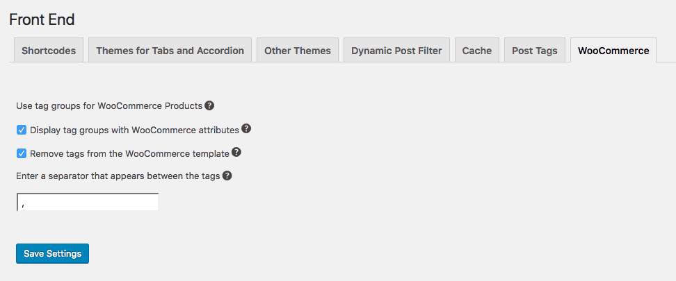 Settings - Front End - WooCommerce - WordPress