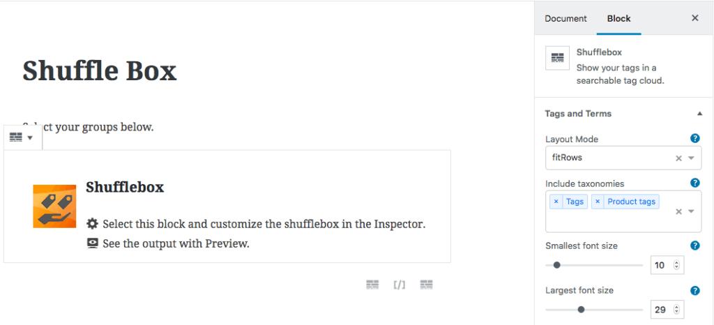 Shuffle Box - searchable tag cloud - Gutenberg - WordPress plugin
