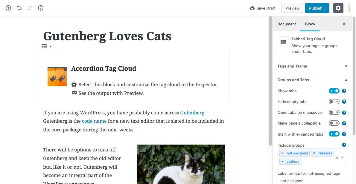 TGB - Gutenberg Post Edit screen