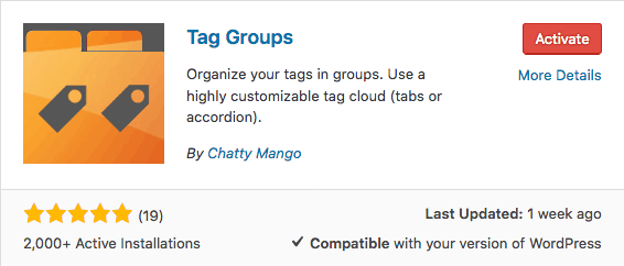 activate tag groups plugin - WordPress