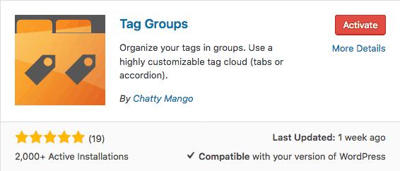 activate tag groups plugin - WordPress